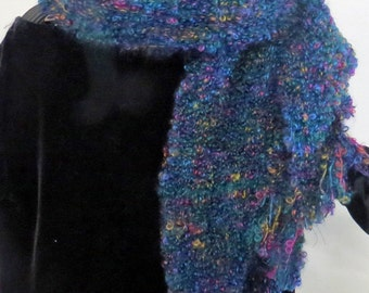 SCARF Long Mohair Loop Hand Dyed Handwoven  Scarf, Brilliant JewelTone Specks on Navy Background. Soft and Warm.