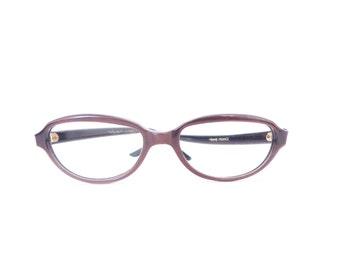 NOS Kitty Cat Eye Frame France Raybert Eyeglasses in Auburn Brown Glow Sunglasses Designer Small Issue Mod Gogo Rockabilly Librarian