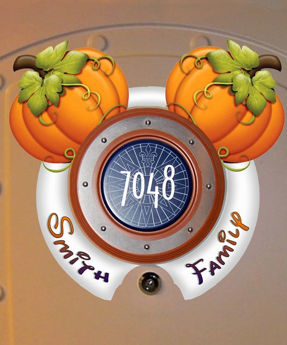 Decorating Ideas > HALLOWEEN Pumpkin Mickey Ears Custom Disney Cruise Door ~ 015650_Halloween Door Magnets