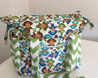 Monkey and Chevron Nappy Bag USE code mishmash16 to get 15% off