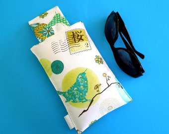 SALE Roomy Sunglasses Case in a Botanical Bird Design