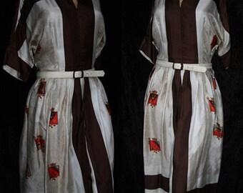 Vintage Syd of Chicago 60s 1960s Crest Novelty Pleated Mad Men Dress