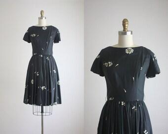 1950s silk daisy dress