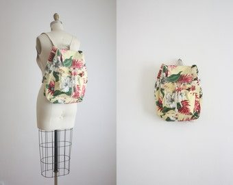 vintage hibiscus backpack