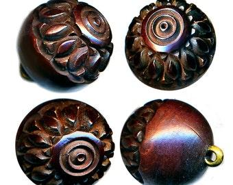 Button--ONE Mid-19th C. Machine Lathed Mahogony Wood Ball Medium