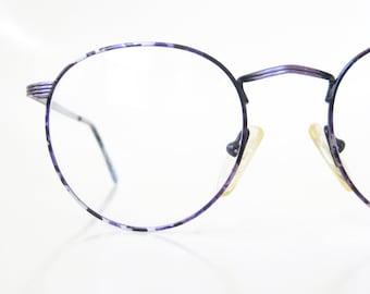 Round Purple Eyeglasses 1980s Wire Rim Vintage Glasses Optical Frames Womens Amethyst Mottled Lilac Lavender 80s Eighties Minimalist Classic
