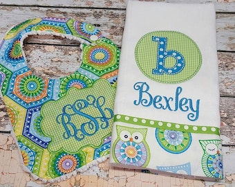 Personalized Bib and  Burp Set for Baby