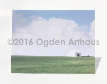 Note Cards, Four Note Cards, Little White Barn, Rural, Farm, Photography Cards, Water Color Cards, Art Cards
