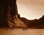 Navajo Riders in Canyon de Chelly, Professionally Restored Large Reprint of Vintage Native American Photograph by Edward Curtis