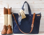 Waxed canvas bag Diaper bag Dark Navy Tote  / Messenger bag / Work bag / Leather straps / Travel bag /Zipper and 5 Pockets