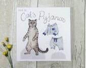 Cat greetings card - cat's pyjamas dress up paper doll card - animal card