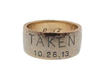 Personalized Men's Gold Duck Band Hand Stamped Wedding Ring Custom Engraved Date Names Taken Ring Mens Wedding Band MetalPressions