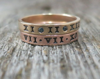 Gold Stacking Rings 14K & Diamond Ring Set Personalized Bands New Baby Birthstone Ring Hand Stamped Custom Mommy Jewelry Mothers Day Gift