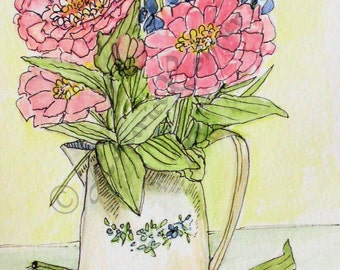 Pink Zinnias Watercolor Illustration Garden Flower Art