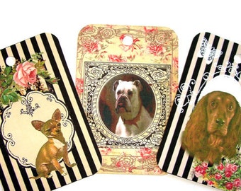 Good Dog Gift Tags,Set Of 6,Vintage Style Dogs,Dogs On Striped Tags,Beautiful Dog Tags,Framed Dog Tags,Ready to Ship,Direct Checkout,Fun