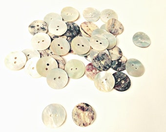 Shell Buttons 3/4 inch, 20 mm Agoya Mother of Pearl Fasteners 2 (two) Hole White Ivory, knitting sewing supplies, Baby Children destash sale