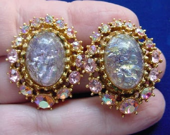 vintage sparely Lavender purple blue green galaxy + pink Austrian crystal oval gold tone clip on earrings VE-2