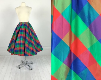 Vintage 50s Modern Jr's Full Circle Skirt in Plaid iridescent taffeta metal zipper pin-up rockabilly size M huge sweep! 1950s