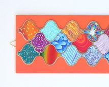 Moroccan Style Wall Hanging Picture 4 - Handmade Unusual Polymer Clay Quilt design on wooden base