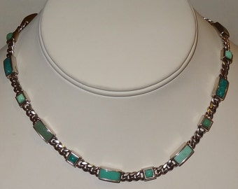 Sterling Silver and Turquoise Chain Necklace