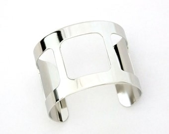 Silver Plated Cuff 2 Inch Wide 3 Square Cutouts Ready Crafting Or Wear SALE While Supplies Last
