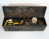 Vintage Fishing Tackle Box in Black, with Tackle, Including 5 Fred Arbogast Jitterbug Lures. Circa 1940's.