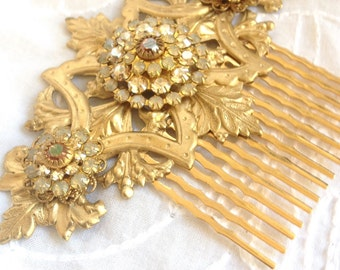 Large Gold and Champagne Swarovski Crystal Hair Comb