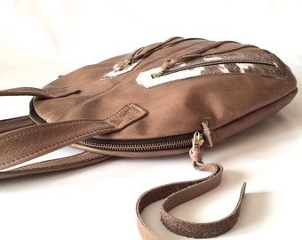 Taupe leather bag, hair on hide handbag, genuine leather handcrafted leather bag, rugged bag, vintage look