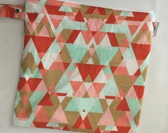 Large Heat Sealed Wet Swim Cloth Diaper Reusable Plastic Bag with SNAP handle - Geometric in Multi Gold Pink Mint White Coral