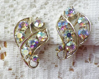 Vintage Aurora Borealis / AB Rhinestone Gold Tone Clip On Earrings, Bride / Bridal / Wedding / Evening, Sparkling Rhinestones