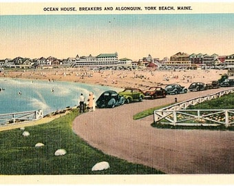 Vintage Maine Postcard - Short Sands Beach and Hotels, York Beach (Unused)