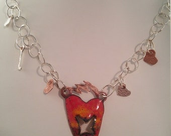 Busted Heart Charm Necklace