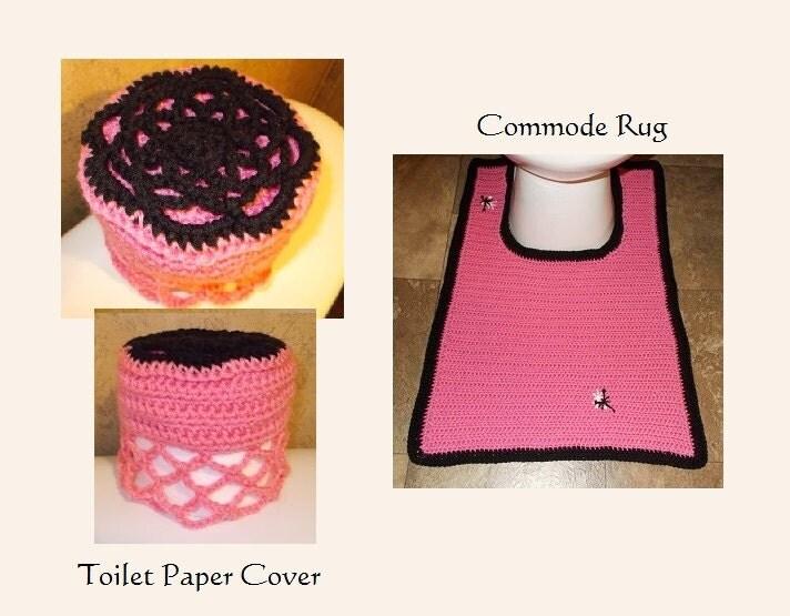 Bath Crochet Pattern Hot Pink Bath Retro Glam Set Toilet Seat Cover Paper