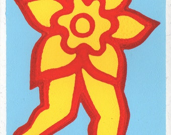 Flower People. Linocut Greeting Card