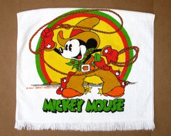 Vintage Walt DISNEY Mickey Mouse Cowboy and Donald Duck Football Bath Towel Disneyana 70s Collectible Disney Souvenir