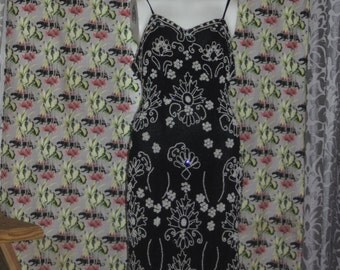 Vintage Annabelle 80's Silk Black Bead Dress S