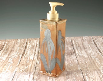 Pottery Hand Soap Dispenser - Handmade Stoneware Soap Pump with Echinacea Design - 870