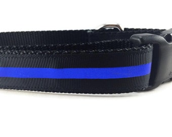 Dog Collar, Thin Blue Line, 1 inch wide, adjustable, quick release, metal buckle, chain, martingale, hybrid, nylon