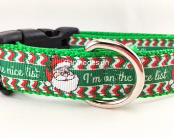 Christmas Dog Collar, Nice List, 1 inch wide, adjustable, quick release, metal buckle, chain, martingale, hybrid, nylon