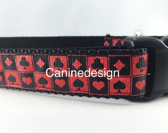 Dog Collar, Deck of Cards, 1 inch wide, adjustable, quick release, metal buckle, chain, martingale, hybrid, nylon