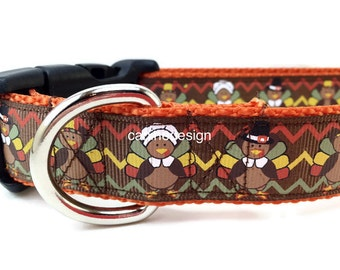 Thanksgiving Dog Collar, Pilgrim, 1 inch wide, adjustable, quick release, metal buckle, chain, martingale, hybrid, nylon