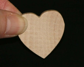 Unfinished Wood Heart - 1-1/4 inches tall by 1-1/4 inches wide and 1/4 inch thick wooden shape (WW-WH1225)