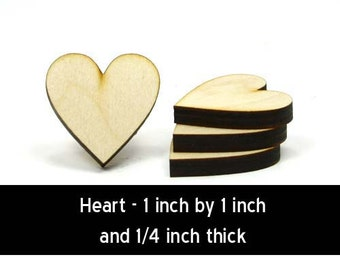 Unfinished Wood Heart - 1 inch tall by 1 inch wide and 1/4 inch thick wooden shape (HRT53B)