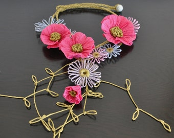 Mayflower - Fushia - Handmade Paper Raffia Flower Bib Necklace