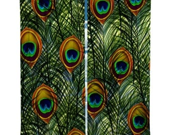 Custom Window Curtain Peacock Feathers - Valance or curtain panels- Any Size