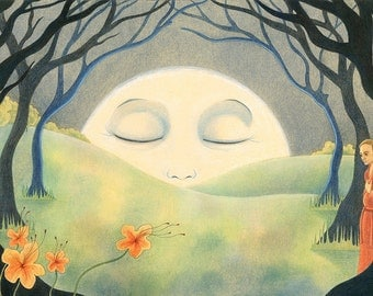 "Spiritual Art Print, limited edition - ""A Pale Moon"""