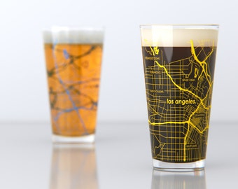 Los Angeles, CA - UCLA - College Town Pint Map Glasses