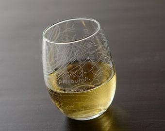Pittsburgh Maps Stemless Wine Glass