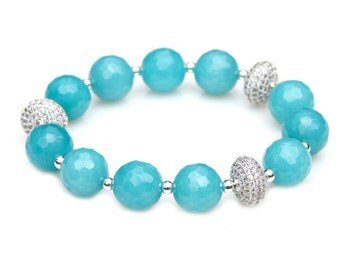 Aqua Blue Faceted Agate Gem Beaded Bracelet Sterling Crystal Pave Rondelle Stacking Stretch High Fashion Red Carpet by Mei Faith