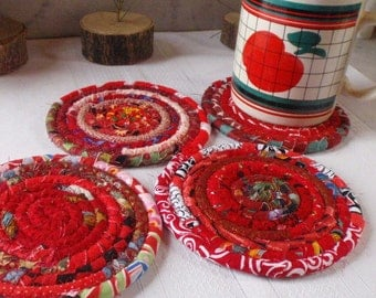 Red Bohemian Coasters - Set of 4 - Handmade by Me, Absorbent Coasters
